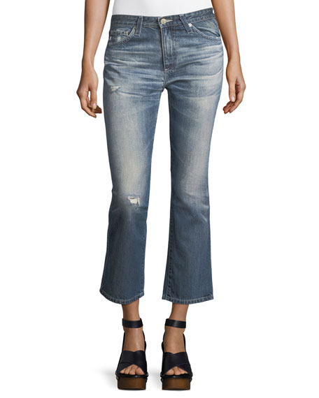 AG Jodi Slim Flared Faded Distressed Crop Jeans