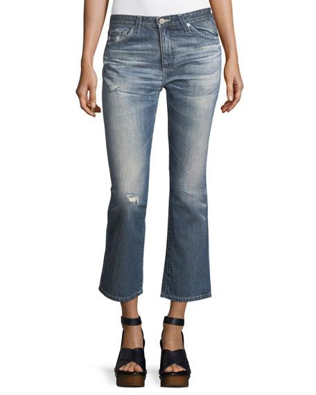 Jodi Slim Flared Faded Distressed Crop Jeans