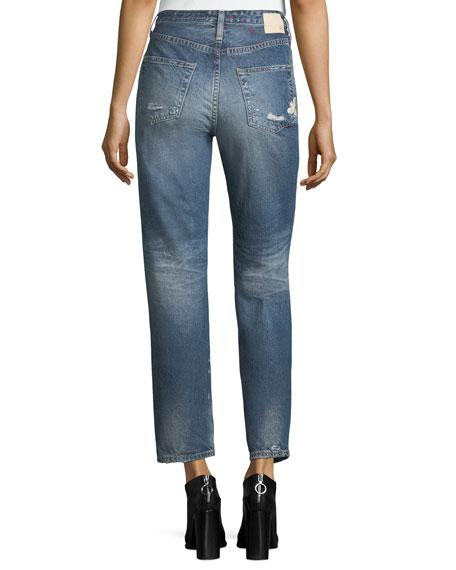 Phoebe Distressed High-Rise Straight-Leg Jeans