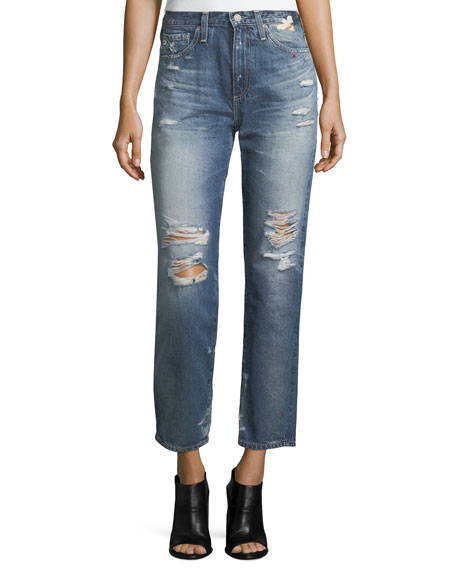 AG Phoebe Distressed High-Rise Straight-Leg Jeans