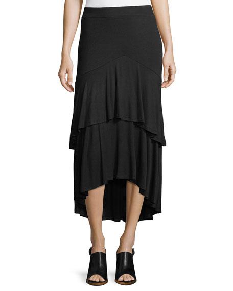 Tiered Jersey Midi Skirt