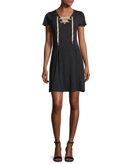 Short-Sleeve Lace-Up Dress