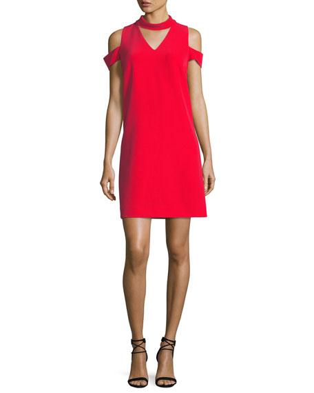 Choker-Collar Crepe Sheath Dress