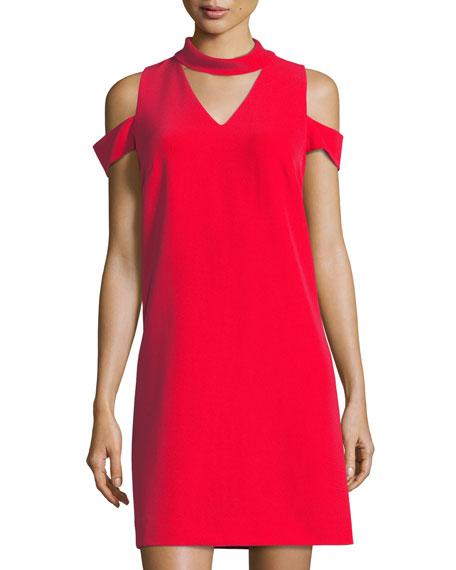 Tahari ASL Choker-Collar Crepe Sheath Dress