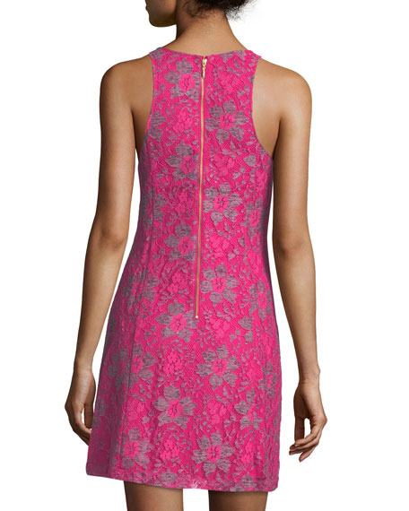 Allover Lace Sleeveless Dress, Pink