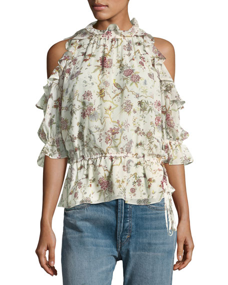 Floral-Print Cold-Shoulder Blouse