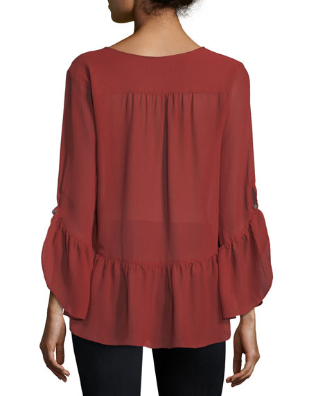 Long-Sleeve Ruffled High-Low Blouse