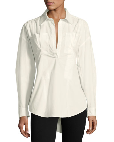 Long-Sleeve Lace-Up Back Poplin Shirt