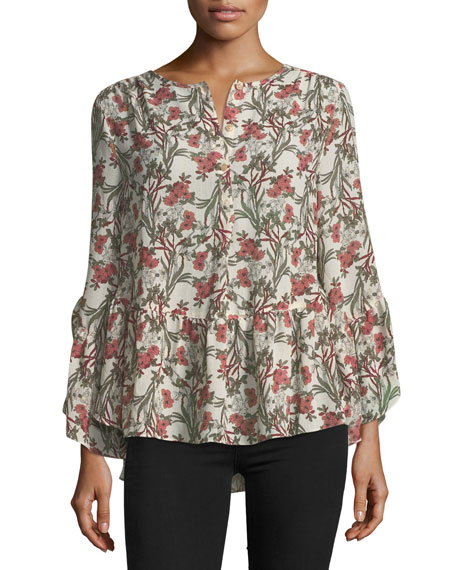 Long-Sleeve Floral High-Low Blouse