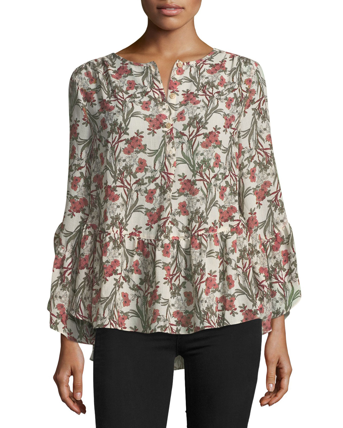 f31c8ba48f317 Max Studio Long-Sleeve Floral High-Low Blouse