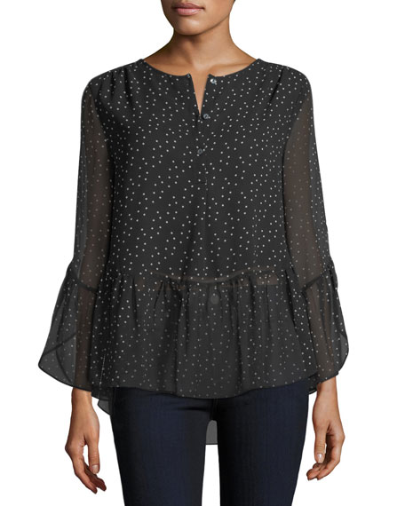 Dot-Print High-Low Blouse