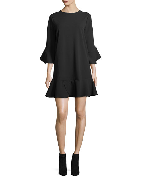 Ruffled Jewel-Neck Shift Dress