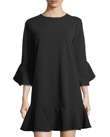 Label by 5Twelve Ruffled Jewel-Neck Shift Dress