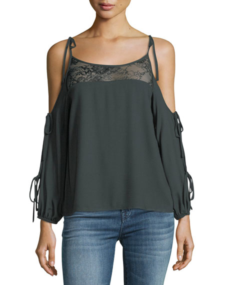 Ella Moss Catarina Cold-Shoulder Top w/ Lace