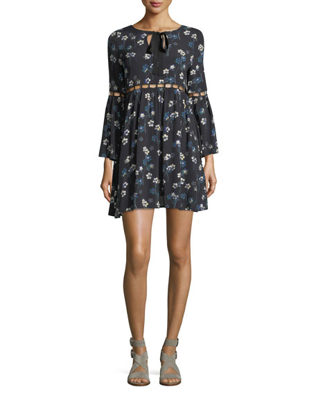 Adara Floral-Print Dress w/ Ladder Stitching
