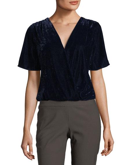 Serene Surplice Short-Sleeve Velvet Top