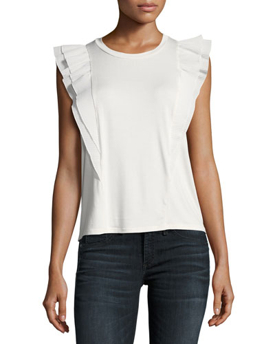 Nadja Crewneck Ruffled-Sleeve Top