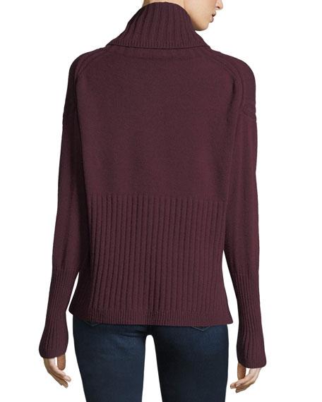 Long-Sleeve Cashmere Turtleneck Sweater w/ Rib Detail