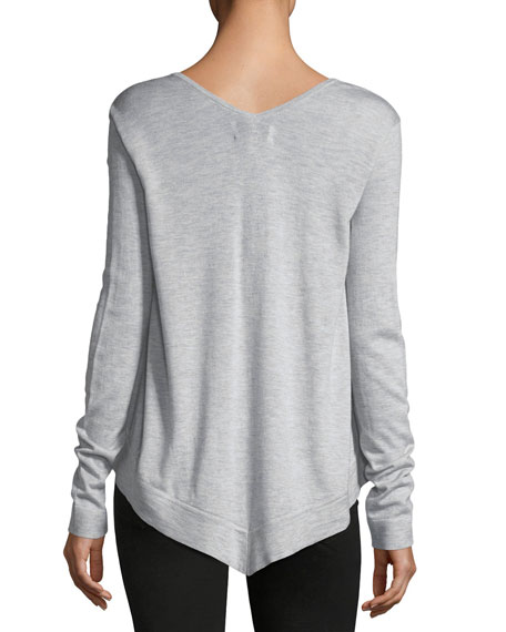 V-Neck Long-Sleeve Wool-Blend Pullover Top