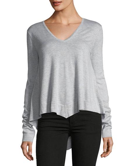 V-Neck Long-Sleeve Wool-Blend Pullover Top