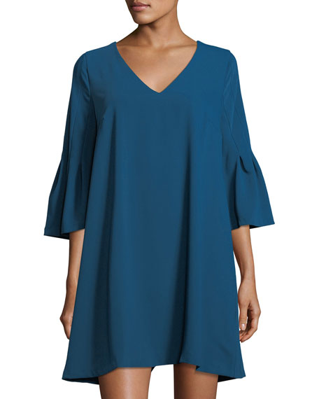 Label by 5Twelve Flare-Sleeve V-Neck A-line Dress