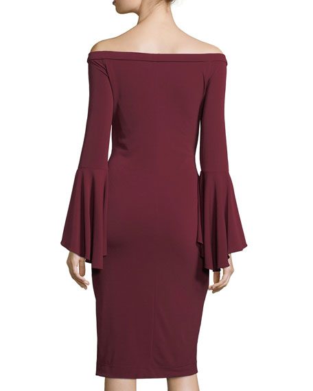Off-Shoulder Bell-Sleeve Sheath Dress