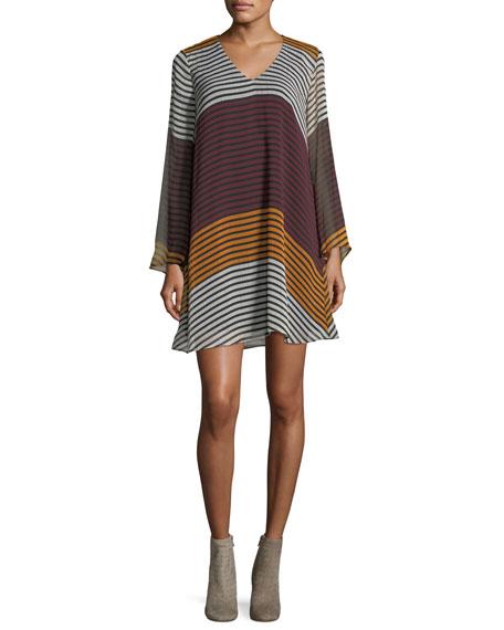 V-Neck Striped A-line Dress