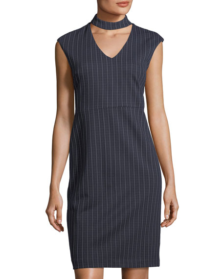 Label by 5Twelve Mock-Neck Striped Sheath Dress