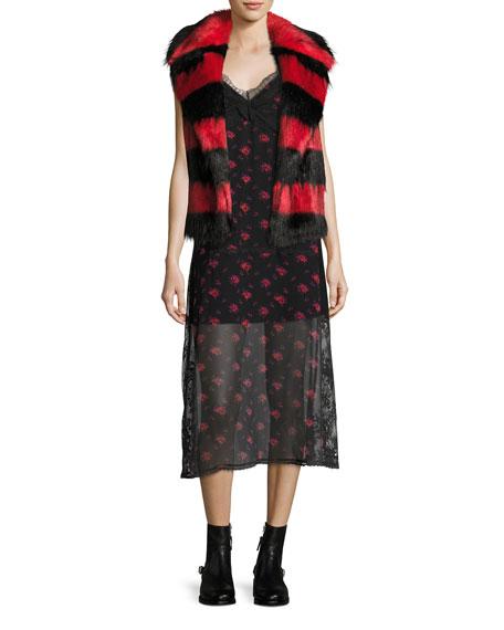 Decon Floral-Print Chiffon Slip Dress w/ Lace