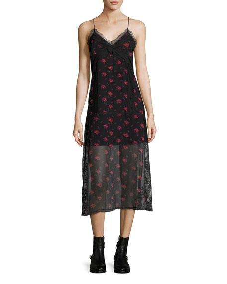 McQ Alexander McQueen Decon Floral-Print Chiffon Slip Dress