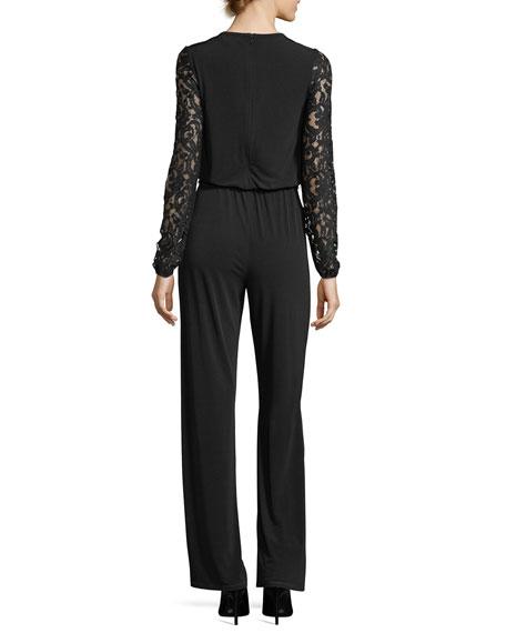 MICHAEL Michael Kors Long Lace-Sleeve Knit Jumpsuit