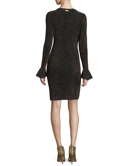 Long Flounce-Sleeve Glittered Bodycon Dress
