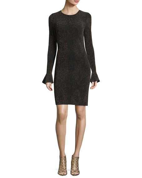 MICHAEL Michael Kors Long Flounce-Sleeve Glittered Bodycon Dress