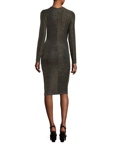 Long-Sleeve Twisted-Waist Bodycon Dress