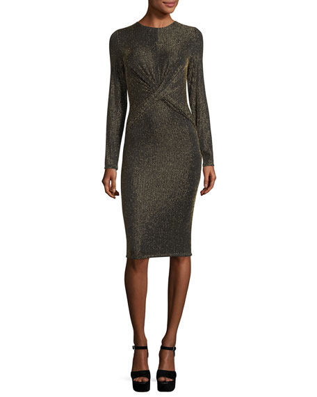 MICHAEL Michael Kors Long-Sleeve Twisted-Waist Bodycon Dress