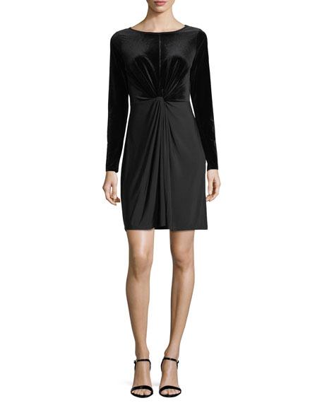 Twist-Front Velvet-Bodice Dress