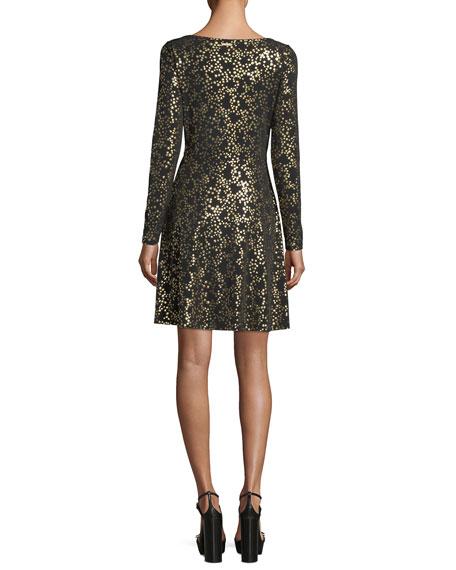 Twist-Front Star-Foil Dress