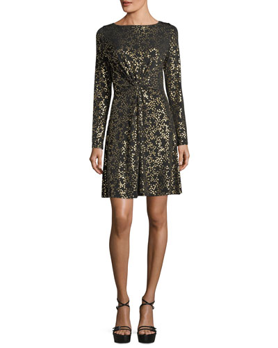 Twist-Front Star-Foil Dress