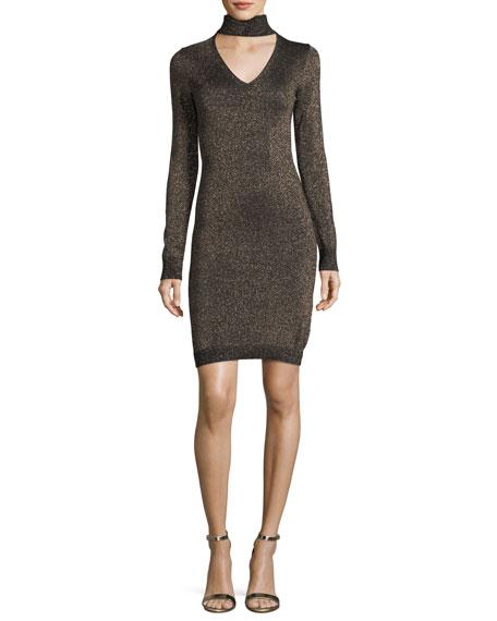 Lurex Choker-Collar Sweater Dress