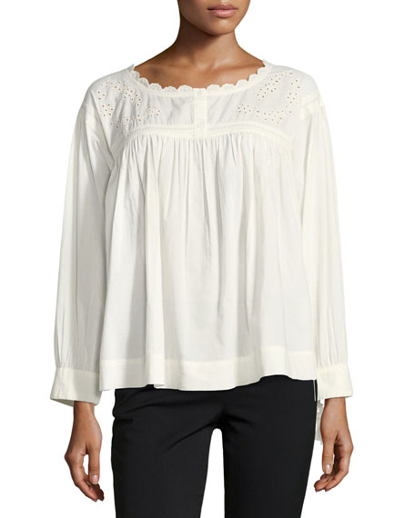 Current/Elliott The Peasant Long-Sleeve Embroidered Cotton Top