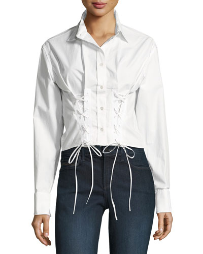 Button-Front Lace-Up Poplin Corset Oxford Shirt