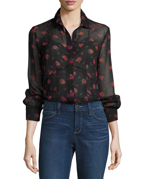McQ Alexander McQueen Button-Front Floral-Print Silk Lingerie