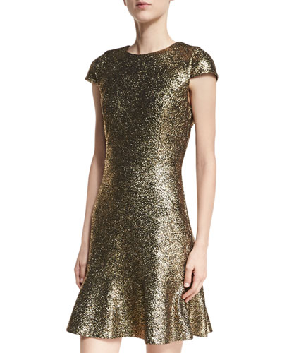 Cap-Sleeve Foil Knit Flounce Dress