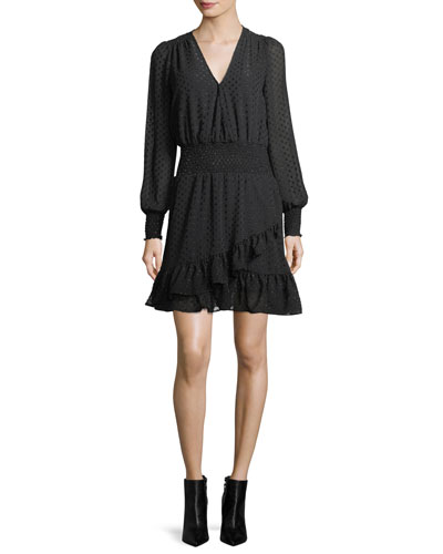 Clipped Dotted Jacquard Smocked Dress