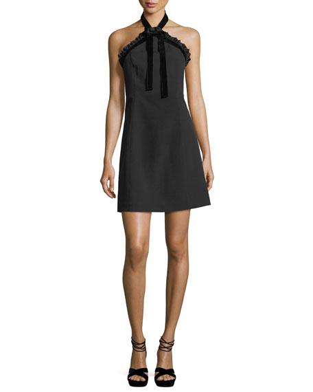 Mixed-Media Crepe Halter Dress