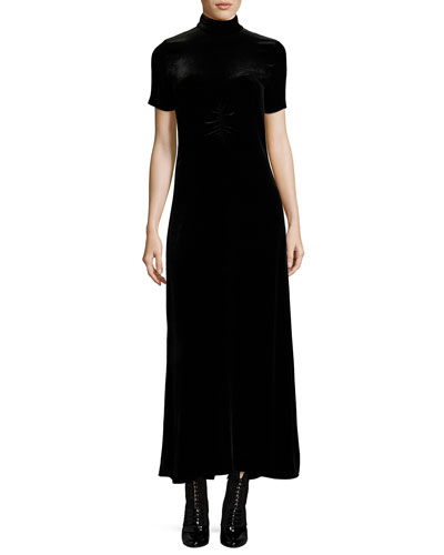 Turtleneck Short-Sleeve Velvet Maxi Dress