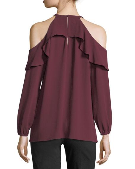 Long-Sleeve Cold-Shoulder Flounce Top