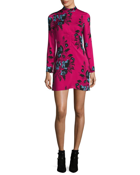 McQ Alexander McQueen Floral-Print Mock-Neck Long-Sleeve Mini