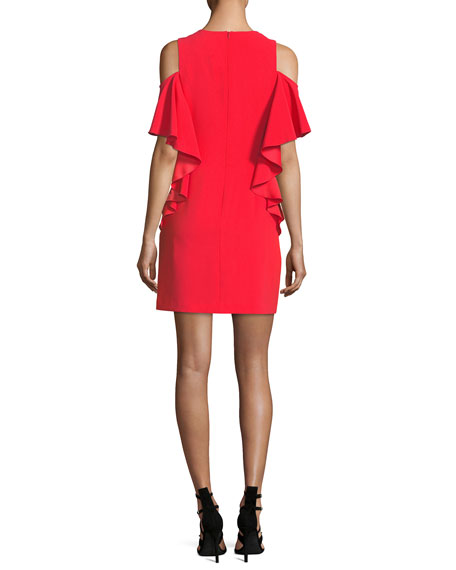 Lambada Cold-Shoulder Ruffled Sheath Dress