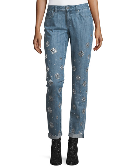 MICHAEL Michael Kors Dillon Jeweled Straight-Leg Jeans